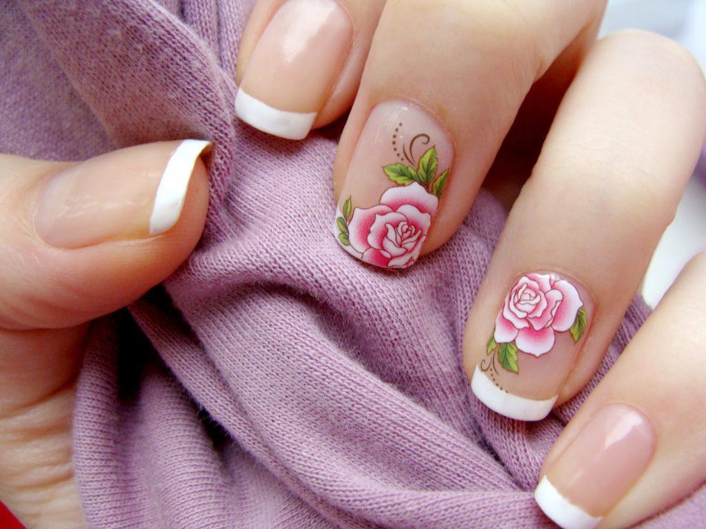 Френч с рисунком розы